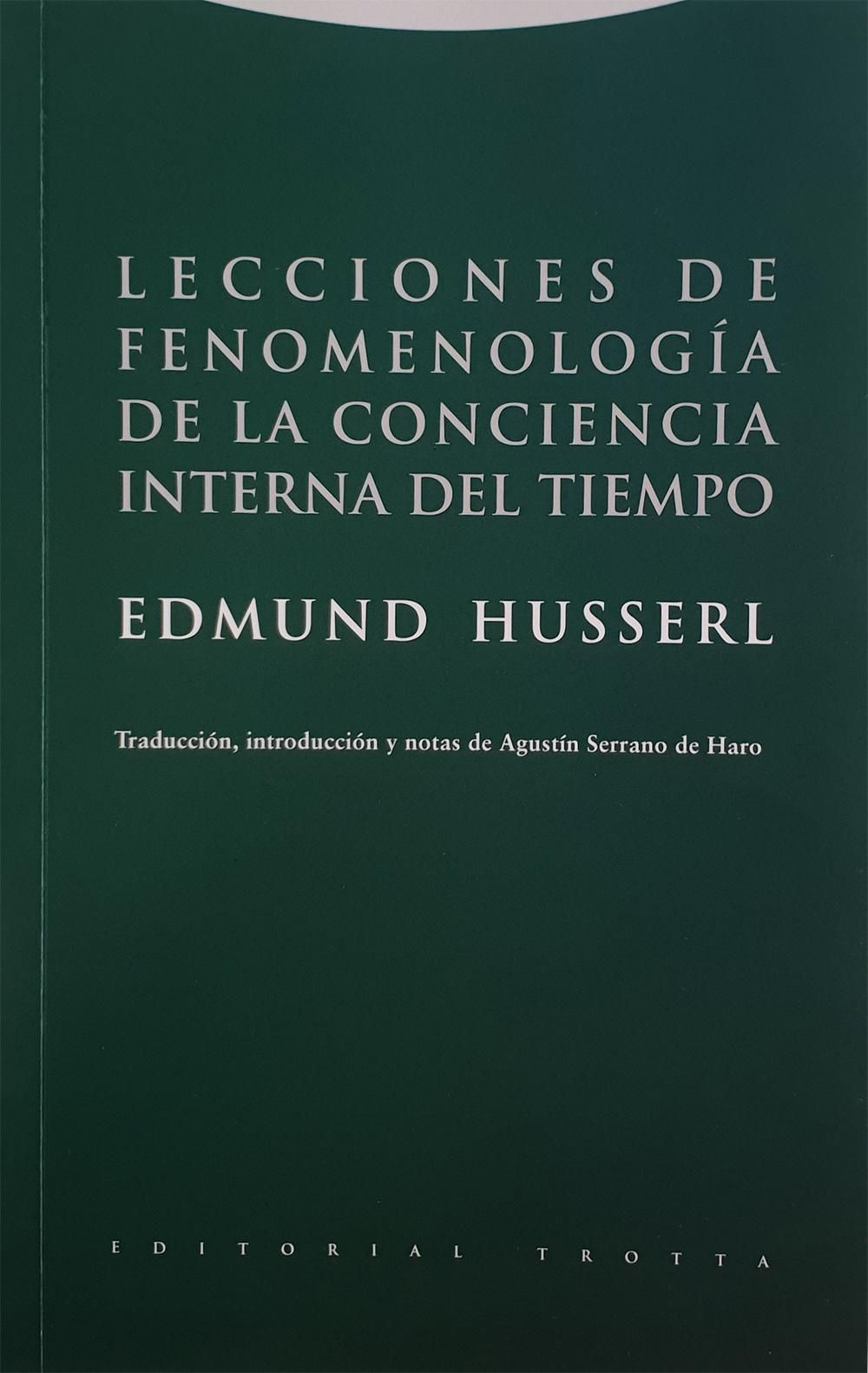 Portada libro - Lecciones de fenomenología de la conciencia interna del tiempo