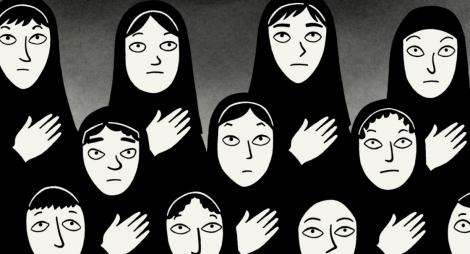 Niñas iranís con velo