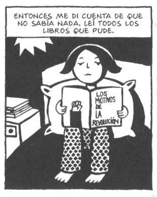 Marjane leyendo sobre la Revolución